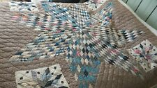 """Antique LONE STAR QUILT Late 1800's Blue and Brown and Black, Calico, 76""""x70"""""""