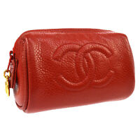 Auth CHANEL CC Logos Mini Multi Pouch Red Caviar Skin Leather Vintage AK33506