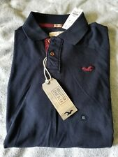 NWT Hollister Mens Polo Shirt Navy Blue XL Muscle Fit Authentic