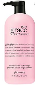 Philosophy Pure Grace Desert Summer Shampoo Bath and Shower Gel 32 oz NEW SEALED