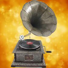 Grammophon graviert ziseliert eckig metallic Nickeloptik Geschenk Dekoration