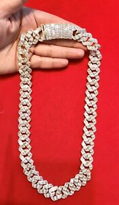 "Mens 14K Gold Finish FULL BAGUETTE BUST DOWN MIAMI CUBAN 18mm 22""Chain"
