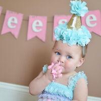 Baby Girls Boys Flower Crown Birthday Party Hat Headband Hairband Headwear NEW