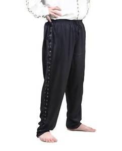 Mens Medieval Renaissance Faire Lounge Pirate Costume Pants Black S/Med L XL 2X