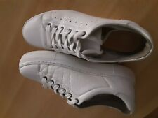 Weiße Echtleder-Plateau-Schuhe, Gr.40
