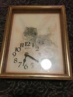 Vintage Elgin Wood Frame Wall Clock Cats