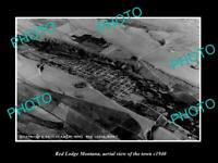 OLD POSTCARD SIZE PHOTO RED LODGE MONTANA, AERIAL VIEW OF THE TOWN c1940
