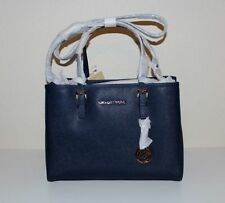 NWT MICHAEL Michael Kors Leather Jet Set Travel Medium EW Tote Handbag NAVY BLUE