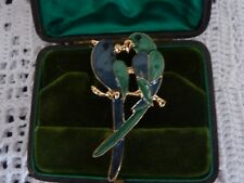 Stunning LOVE BIRDS KISS BLUE GREEN ENAMEL GOLD BROOCH PIN