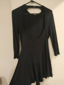 Ladies Size 10-12 Sexy Black Playsuit Low Back High Collar Detail Club sexy