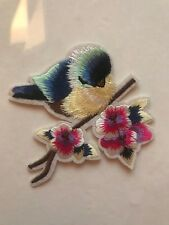 Blue Bird on a Branch with Flower Iron on Applique Patch