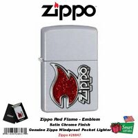 Zippo Red Flame Logo, Emblem, Satin Chrome, Windproof Lighter #28847