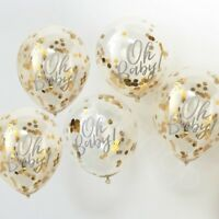 "Oh Baby 12"" Gold Latex Confetti Balloons Baby Shower Unisex Party Decoration x 5"