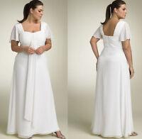Langgröße Weiß/Elfenbein Brautkleider Das Hochzeitskleid Chiffon U-Ausschnitt