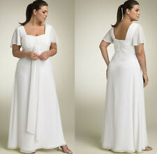 Short Sleeves Chiffon Plus size Bridal Wedding Gown Prom Ball Evening Dress