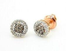 Chocolate Brown & White Diamond Cluster Earrings 10K Rose Gold .25ct Screw Backs