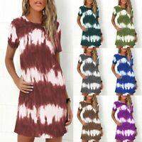 UK Womens  Short Sleeve Tie-dye Dress Bohemia Summer Beach Party Mini Dresses