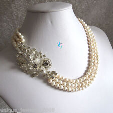 """18-20"""" 6-7mm White 3Row Natural Freshwater Pearl Necklace X2327 Wedding Necklace"""