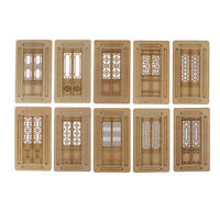 3pcs Dollhouse Miniature Furniture Accessories Wooden Movable Door Model Toy Hs
