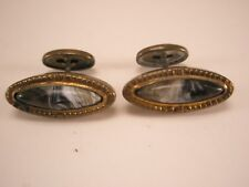Scottish Agate & Gold Tone Vintage Victorian Cuff Links