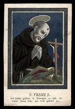 santino incisione 1800 S.FRANCESCO D'ASSISI dip. a mano