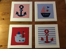 SET OF 4 HANDMADE NAUTICAL BOATS ANCHOR CANVASES nursery baby vintage children