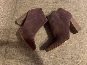 Ivanka Trump Suede High Heel Booties burgundy size 7.5 used very good