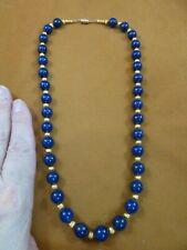 """v657-24b Blue Lapis Lazuli gemstone + gold tone beaded 20"""" long Necklace fashion"""
