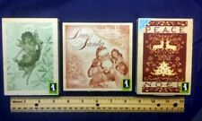 3 Christmas Inkadinkado Rubber Stamps Set Peace Noel Dear Santa Angel Scrapbook