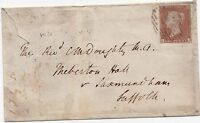 * 1850 WATERLOO Rd LONDON SUB PO 1d IMPERF COVER TO REV C M DOUGHTY IN SUFFOLK