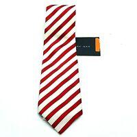 Zara Man Red White Striped Silk Tie NWT