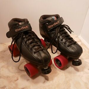 Riedell R3 CAYMAN Roller Derby Skates Size 8 woman's Black Quad new toe stops