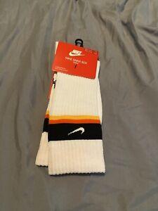 Nike SNKR SOX Rayguns Basketball Crew Socks 'White/Orange' CU5856-100 sz L