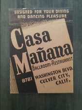 Casa Mañana Ballroom - Culver City, Ca. collectors postcard