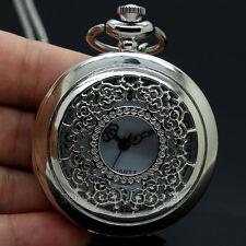 Silver Vintage Hollow Tone Quartz Pocket Watch Necklace Pendant Women Gifts New