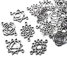 20 x Connecteur charms plaqué argent 20 mm, Craft Bijoux, Fleur de Guérison Yoga