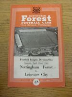 22/04/1961 Nottingham Forest v Leicester City  (Creased, Faint Marks, Score Note