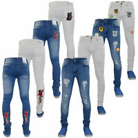 Mens Skinny Jeans Super Slim Fit Badges Ripped Denim Stretch Cotton Zip Fly Pant