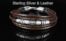2B-559  Genuine Sterling Silver Feather Leather Armband Wristband Men Bracelet.
