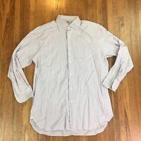 Ermenegildo Zegna Mens Button Front Shirt Sz Large Checkered Dress Long Sleeve