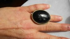 BLACK ORICAL RING,DOLMAN RESIN,GOLDEN METAL & EBONY & POLISHED,SIZE Q.5