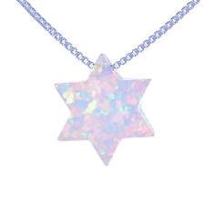 Star of David Judaica pendant, Necklace of shiny Opal stone Jewish Magen David