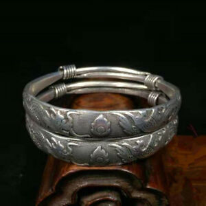 Rare 2 Pcs Old Miao Silver Bracelet Carved DRAGON Men's Bracelet Bangle