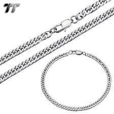 TT Silver Stainless Steel Curb Chain Necklace+Bracelet Set 4mm-8mm (C-SET171S)
