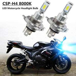 Motorcycle H4 LED Bulb 100W Hi/Low Beam Headlight 8000K Blue For Honda Yamaha US