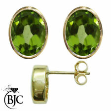 Pendientes de joyería con gemas verde de oro amarillo de peridoto