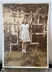 CUTE GIRL in a PRETTY DRESS in the BACK YARD VINTAGE HAND COLORED PHOTO