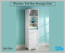 New Bathroom Wooden Tall Boy Storage Unit, 3 Shelves & 1 Cupboard Furniture