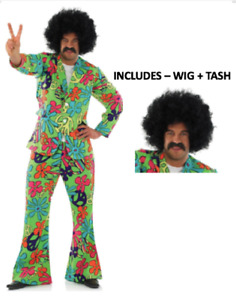 Mens 60s 70s Hippy Hippie Psychedelic Suit Fancy Dress Costume - FAST +FREE POST