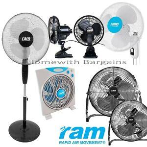 """RAM 16"""" Pedestal, Wall Fan 12"""" Box Floor Fan - 3 Speed 6"""" Clip-on 7"""" Oscillating"""